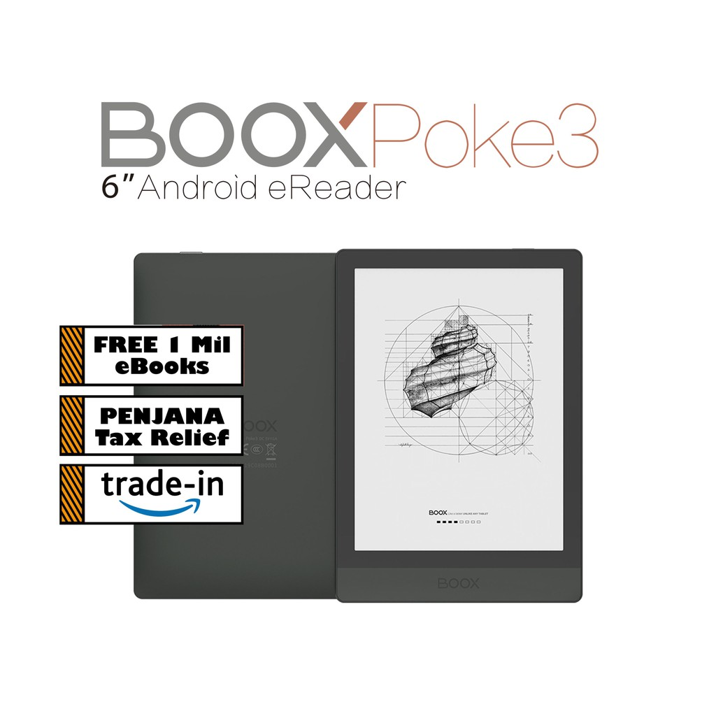 NEW BOOX Poke3 6″ Android eReader (32GB)+Free PU Leather Case + Free 1 Million eBooks (eReader Fan Club Library)