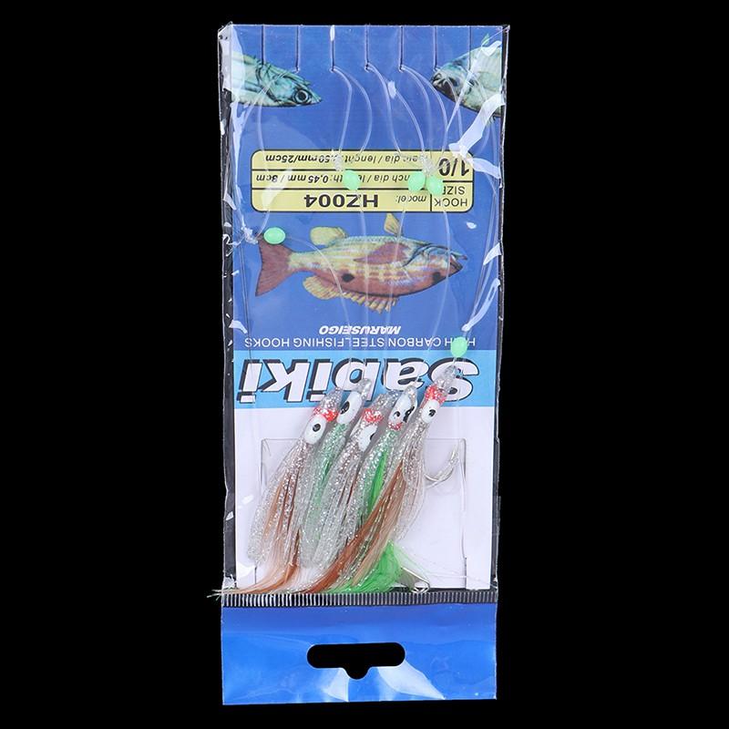 Sabiki Saltwater Fishing Lure Bait Rig Hook Tackle Luminous Beads Feathers 1//0