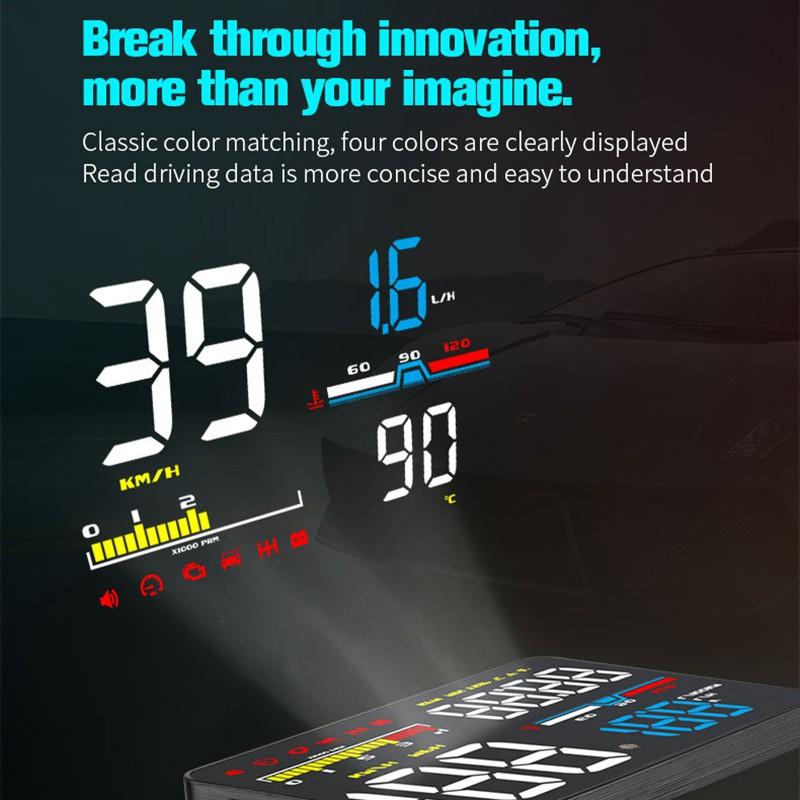 5 Inch Car Hud Head-Up Display Obd2 Eml327 Dashboard Speedometer Projector  Speed Warning D5000