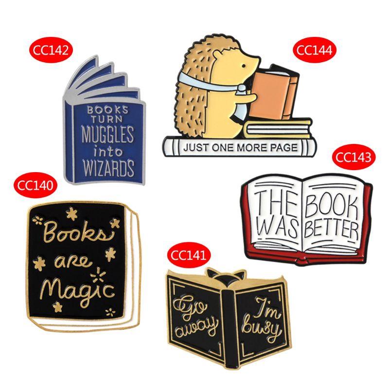 FLGO Brooch Books Hedgehog Wizard Enamel Backpack Icon Badge