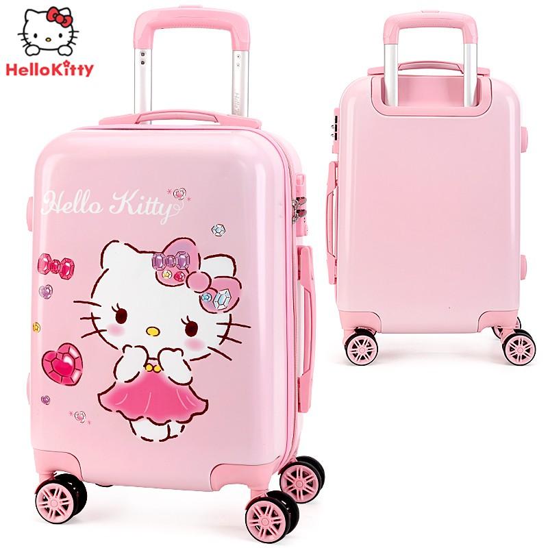 ♤↹กระเป๋าเดินทางเด็ก  กระเป๋ารถเข็นเดินทางกระเป๋าเดินทางเด็ก Hello Kitty กระเป๋าเดินทางเด็กผู้หญิง 20 นิ้วกระเป๋าเดินทาง