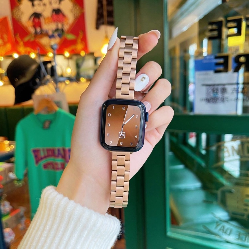 applewatch สาย ใหม่บังคับapplewatchสายรัดสแตนเลสสามต้นiwatchSE654321สาย