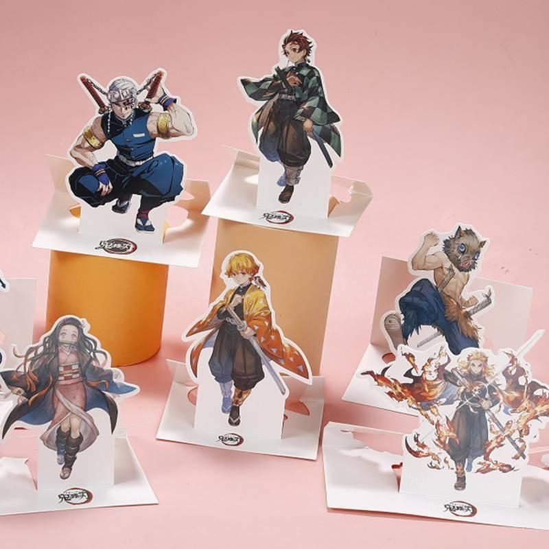สแตนดี้ ฟิกเกอร์ แฟนเมด Anime Demon Slayer Kimetsu No Yaiba Figure paper Stand Model Toy Kamado Tanjirou Nezuko Tsuyuri Kanawo Tomioka Giyuu Action Figures Decoration Cosplay kids Gift
