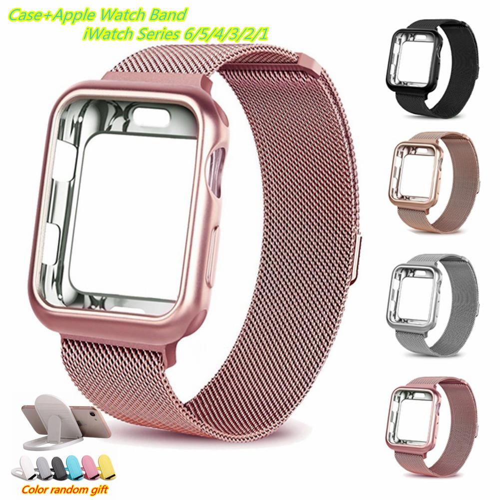 Apple Watch strap + Apple Watch Case I Watch Series 6 5 4 3 2, Apple Watch SE size 38mm,40mm,42mm,44mm Same Color Milane