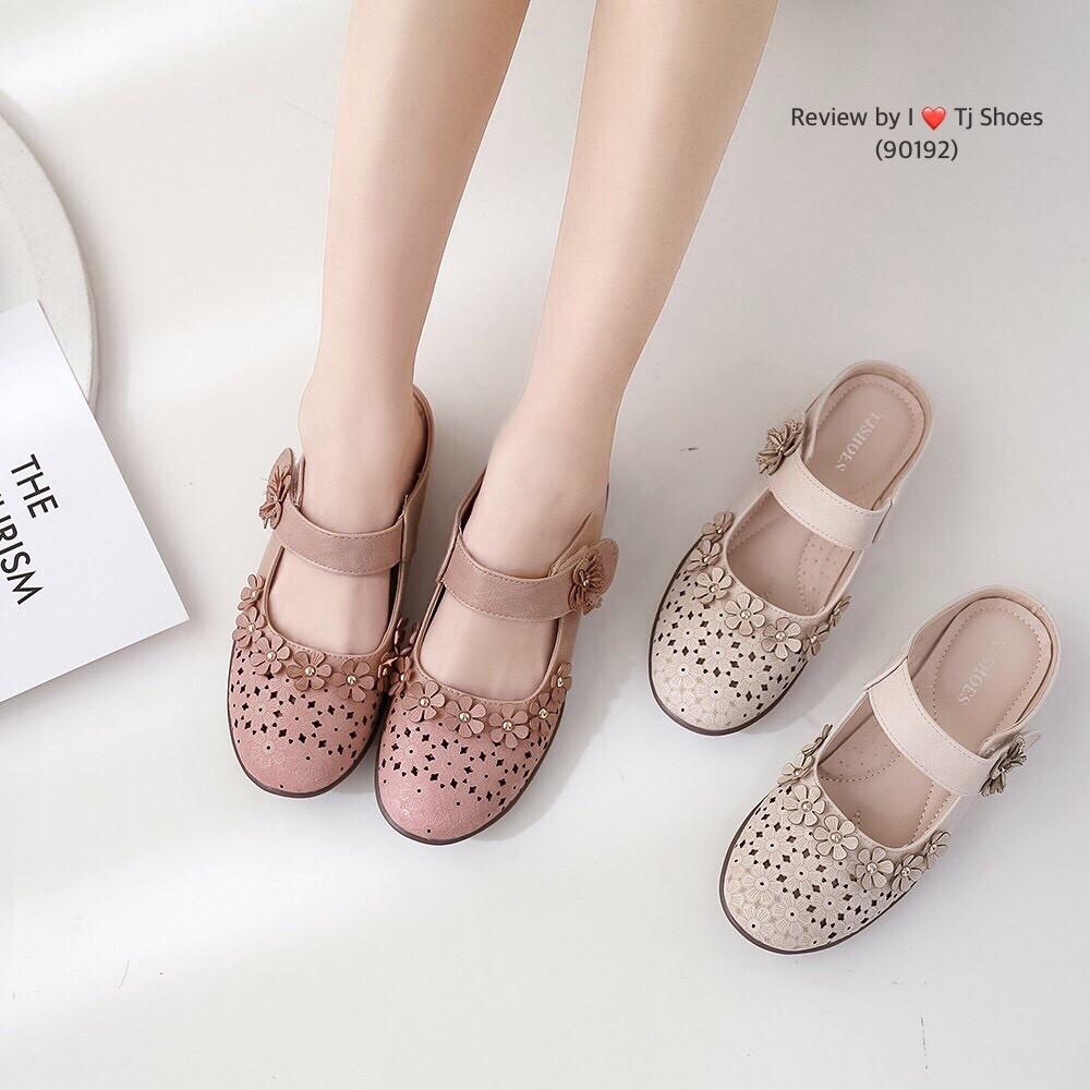 รองเท้าเพื่อสุขภาพผู้หญิง ไซส์36-41 Tj Shoes 90192 นุ่มเบาใส่สบาย คัชชู เปิดส้น เปิดท้าย หนังนิ่ม น้ำหนักเบา ไซส์พิเศษ