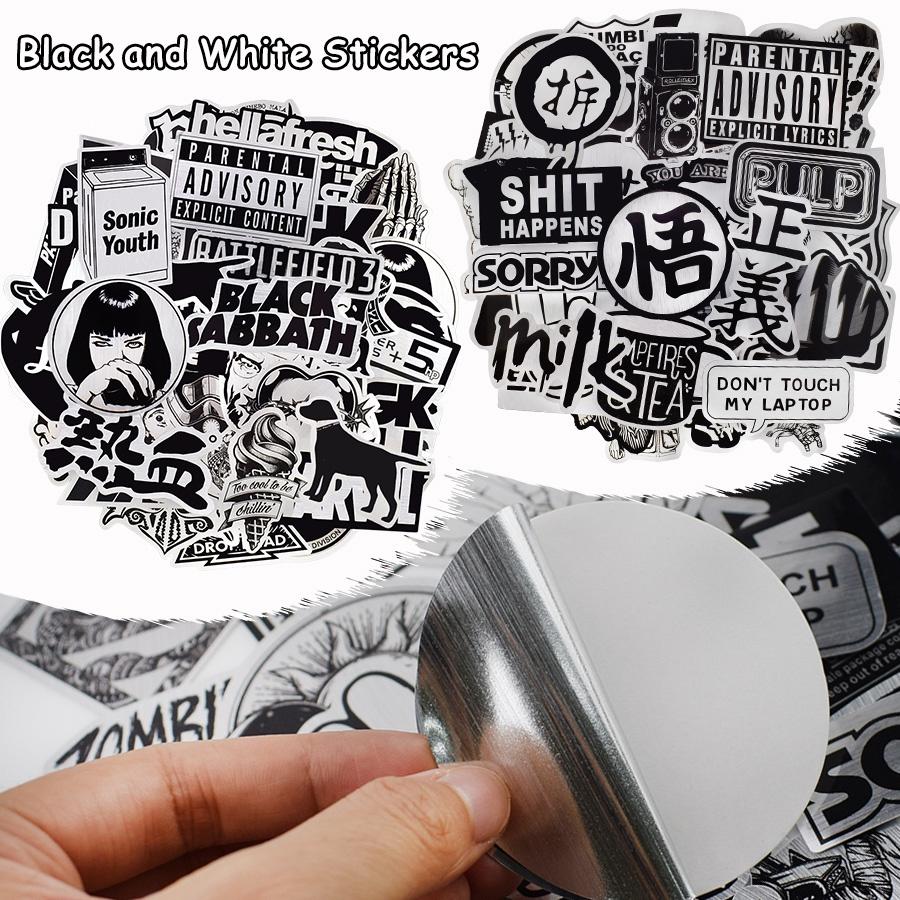 10/50 PCS สีดำและสีขาว JDM สติกเกอร์สำหรับเด็กผู้ใหญ่ Graffiti Cool สติกเกอร์กันน้ำสำหรับแล็ปท็อปรถสเก็ตบอร์ดหมวกกันน็อคกระเป๋าเดินทาง