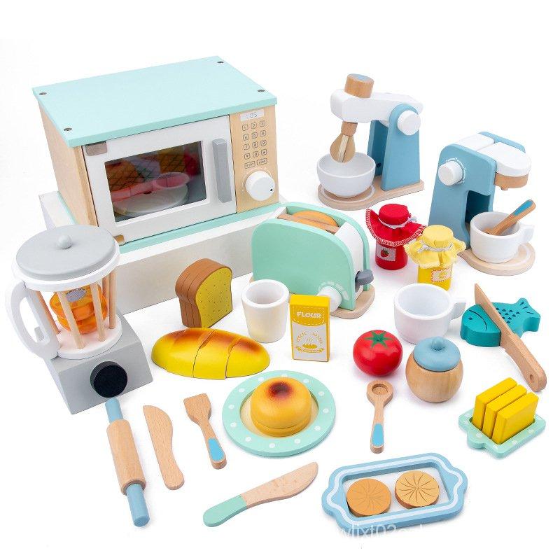 เด็กครัวเครื่องปิ้งขนมปังกาแฟเครื่องปั่นสลัดทำอาหาร Chef ของเล่นสำหรับ Girls Pretend Play อาหารเด็ก Miniature Kitchen