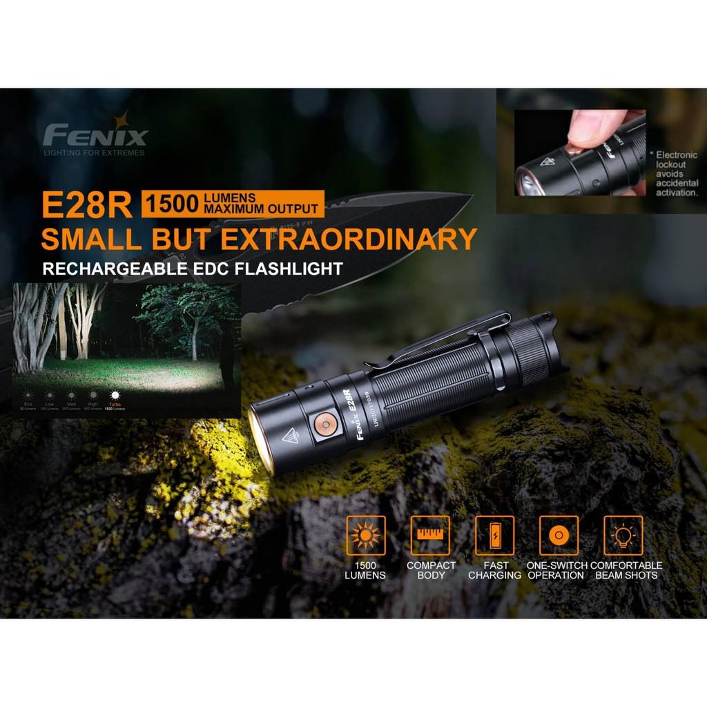 ไฟฉาย Fenix E28R 1500LM ชาร์จ USB-C ในตัว แถมแบตเตอรี่
