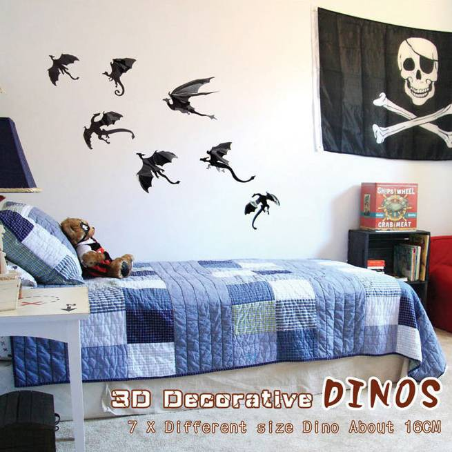 Gift 7pcs//set Game Of Thrones Inspired Wall Sticker Gothic Dragons Sticker 3D