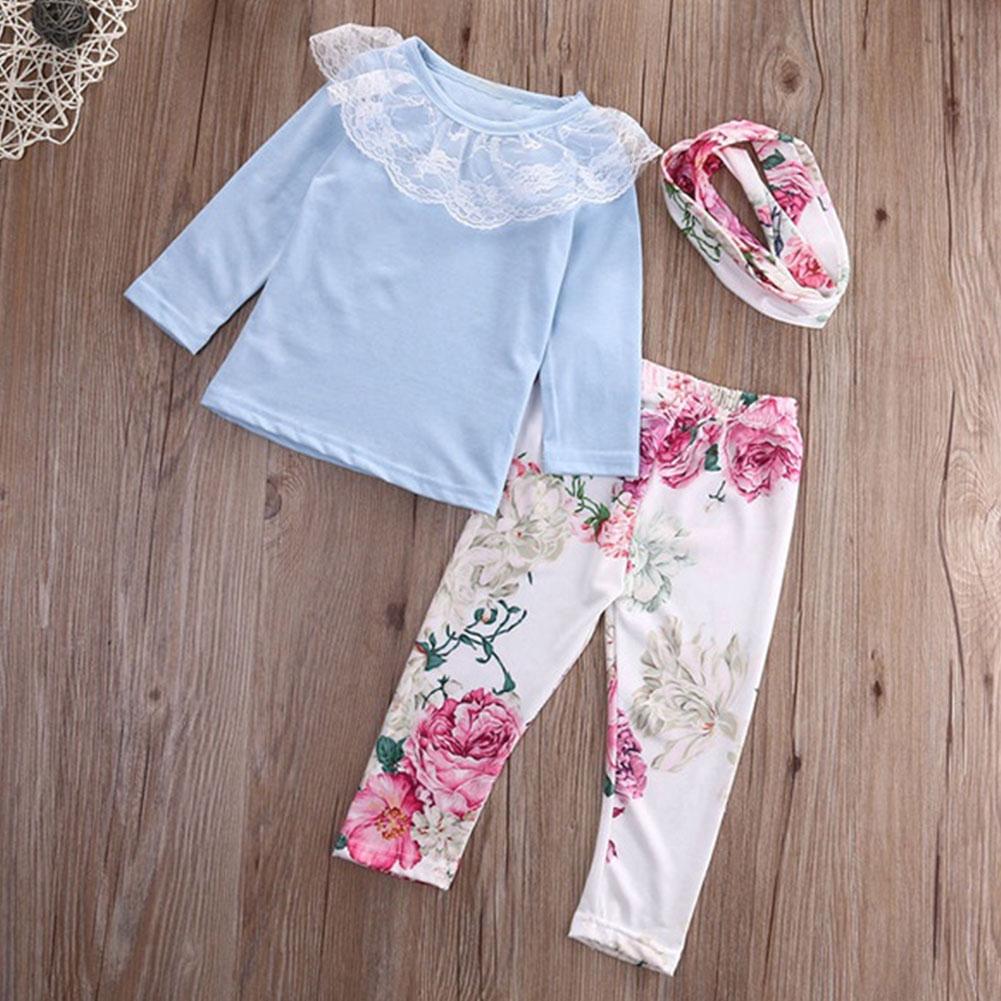 Toddler Baby Girls Outfit Clothes Lace Romper Jumpsuit+Floral Short Pants 1Set