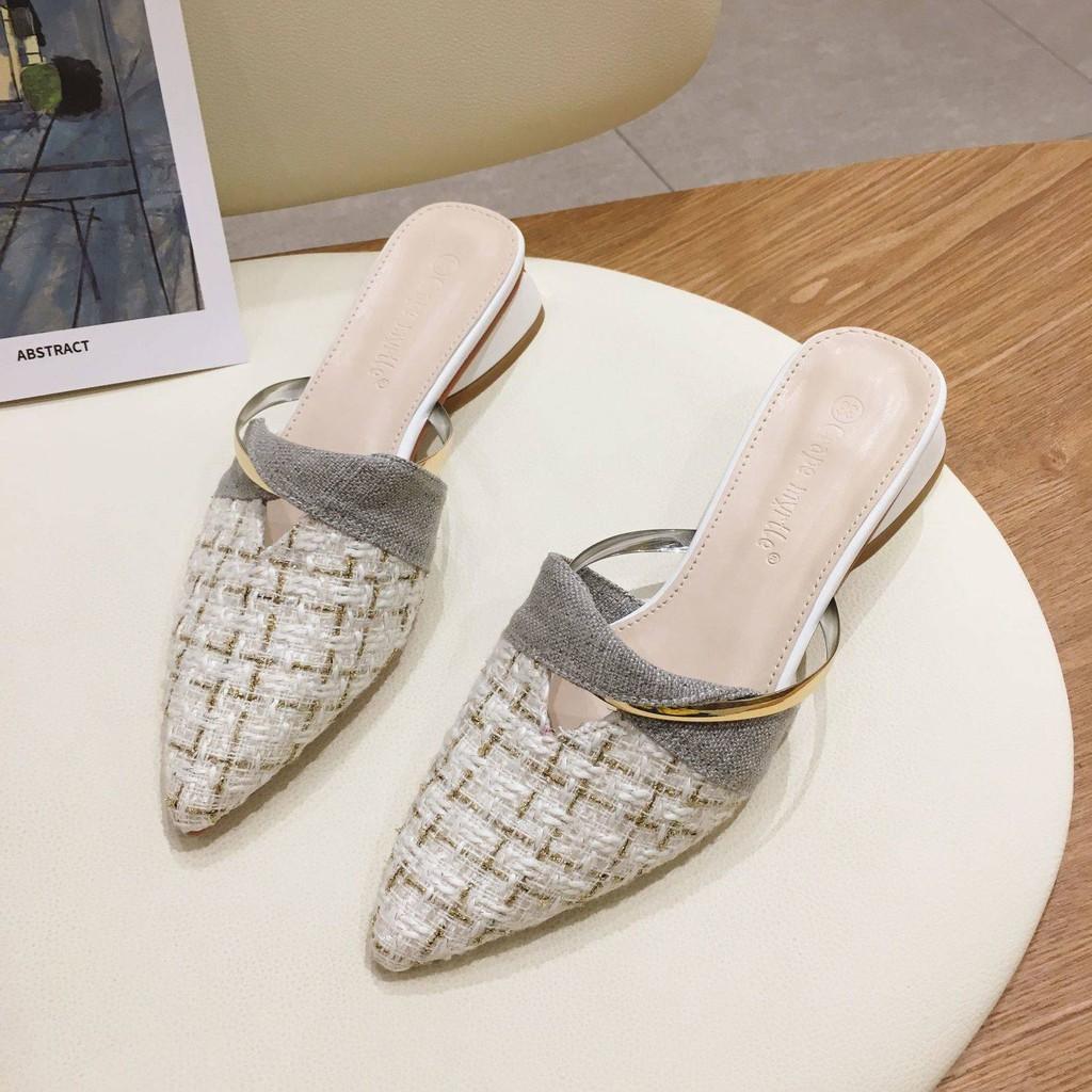 รองเท้าคัชชูเปิดส้น รองเท้าคัชชูเปิดส้นผู้หญิง Net Red Muller 2021 ใหม่ในปีใหม่ด้วยกระโปรงส้นหนาหัวแหลม, รองเท้าแตะครึ่ง