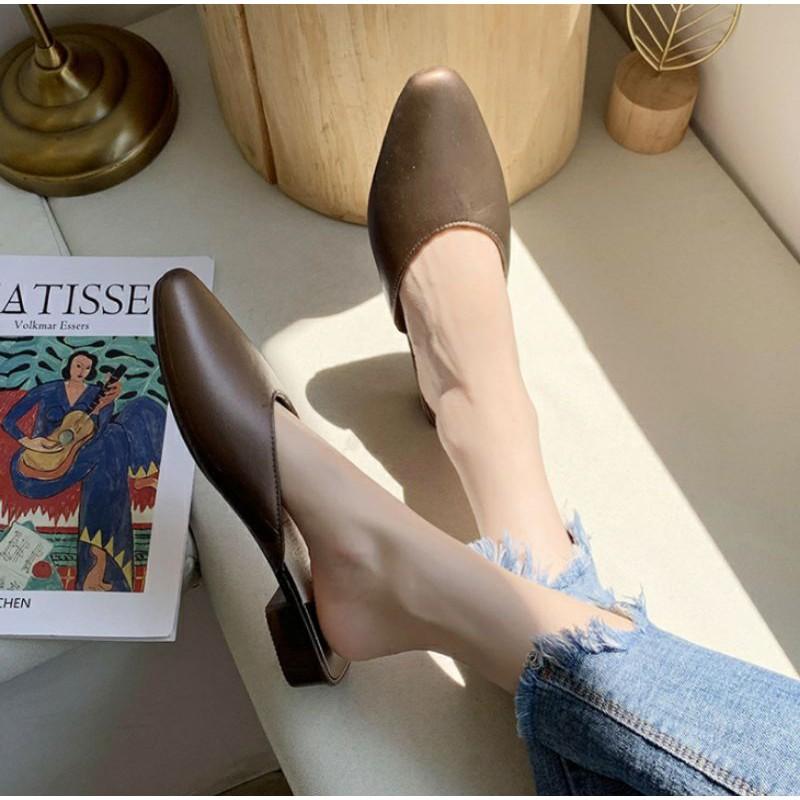 ส้นแบนหัวแหลม# รองเท้าคัชชู รองเท้าคัชชูหัวแหลมเปิดส้น รองเท้าผู้หญิงแฟชั่น (Cutsu02)