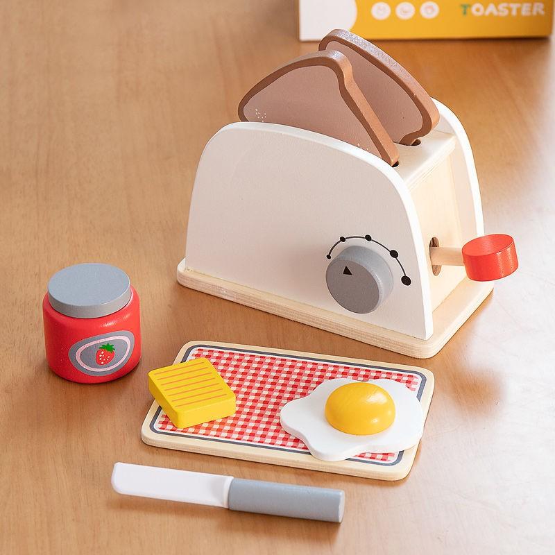 ☜❈ของเล่นจำลองของเล่นครัวบ้านไม้เด็กชุดเครื่องครัวเครื่องทำขนมปังเครื่องชงกาแฟ เครื่องทำไข่ของขวัญสำหรับเด็กชายและเด็กหญ