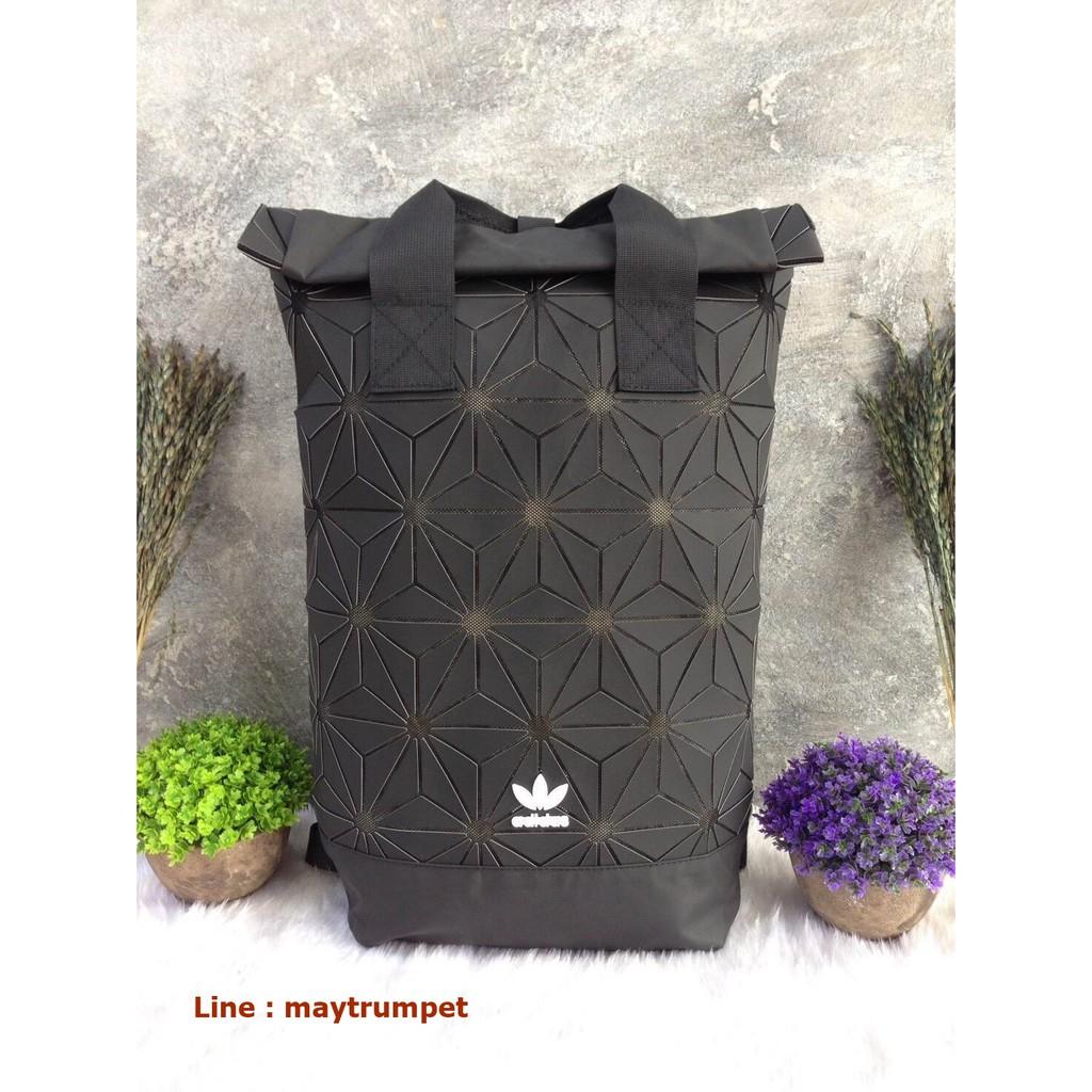 Adidas 3D Roll Top Backpack กระเป๋าเป้ Unisex ดีไซน์สุดฮิตสไตล์ ISSEY MIYAKE (Black)