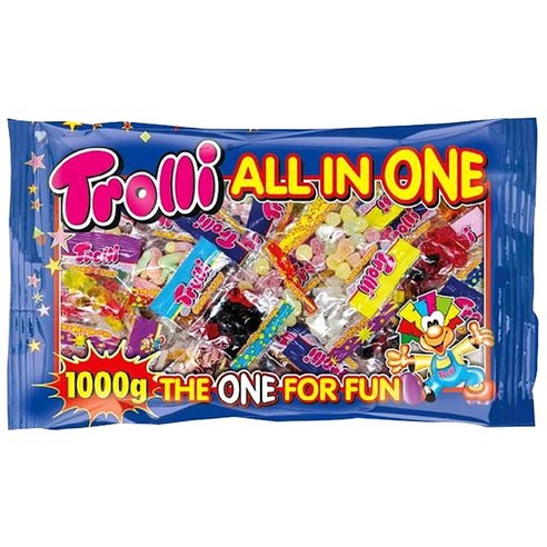 Costco Trolli all-in-one chewing jelly 1kg(snacks konjac jelly sweets food beverages sour gummy 魔芋 konnyaku detox fruits bubble trolli trolly)
