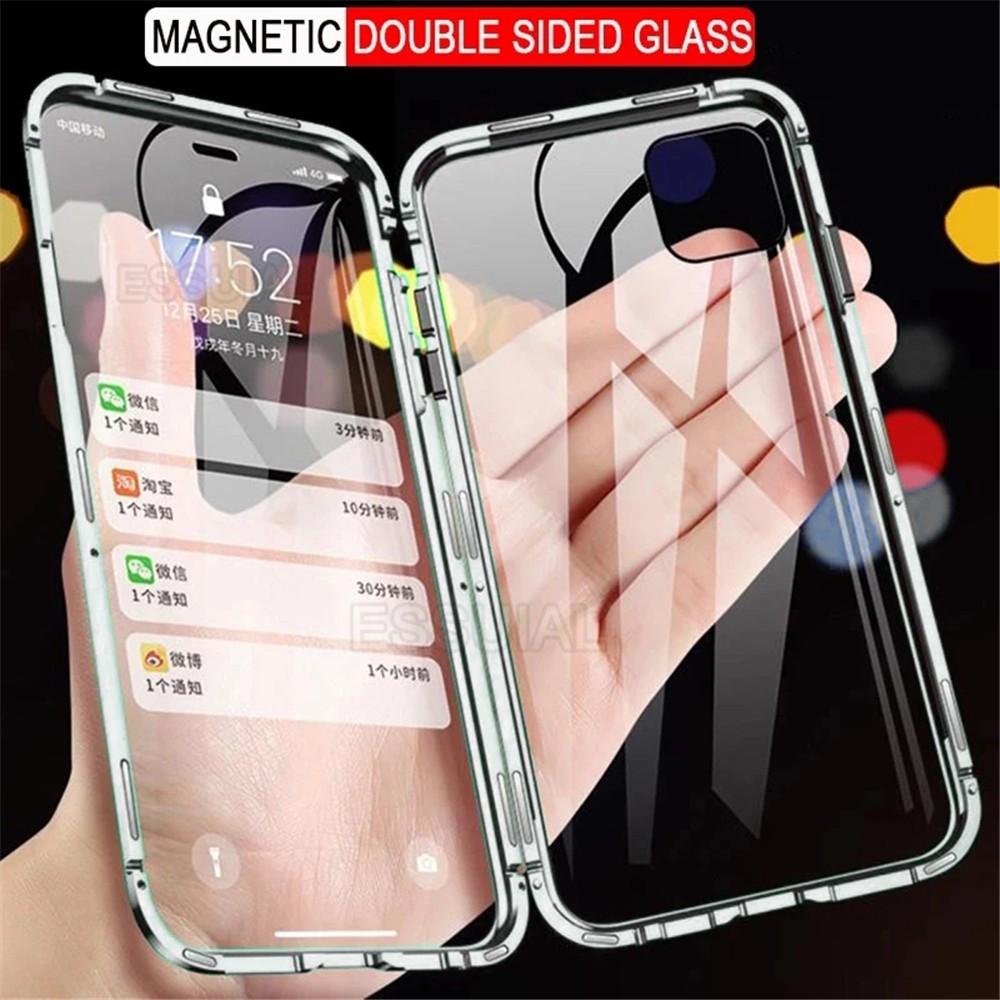 เคสโทรศัพท์มือถือแบบสองด้านสําหรับ Iphone 11 Pro Max Shockproof Magnetic Phone Case