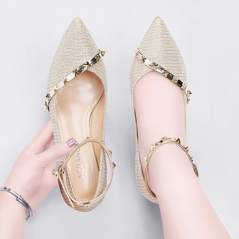 รองเท้าส้นสูงคุณภาพดีสำหรับผู้หญิงรองเท้าแตะสำหรับผู้หญิงรองเท้าคัชชูหัวแหลมสำหรับผู้หญิง