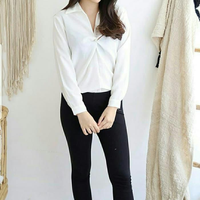 เสื้อเบลาส์ Devy / Tunic / Ity Crepe Hem Plain Vita - สีขาว 30eev