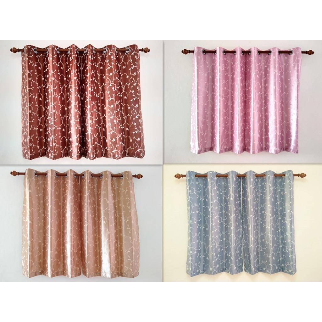 ผ้าม่านหน้าต่าง ผ้าม่านสำเร็จรูป ม่านตาไก่ หน้าต่าง  เมตร กันแสง กันยูวี 80% zJgi