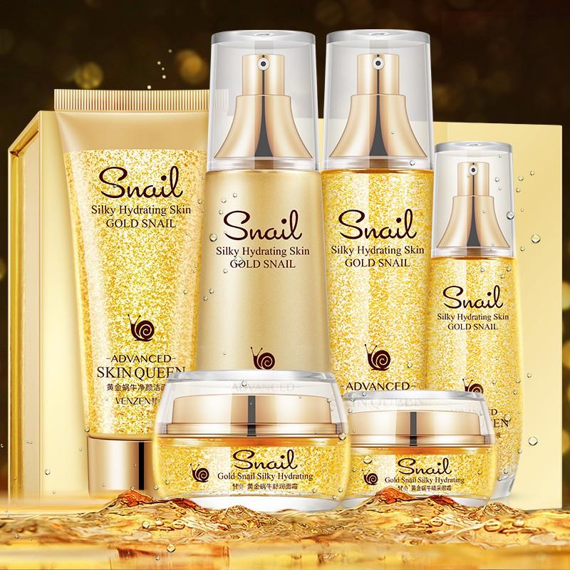 Fanzhen 24k gold set box moisturizing snail Shurun six-piece set shrink pores 24k gold set skin care products