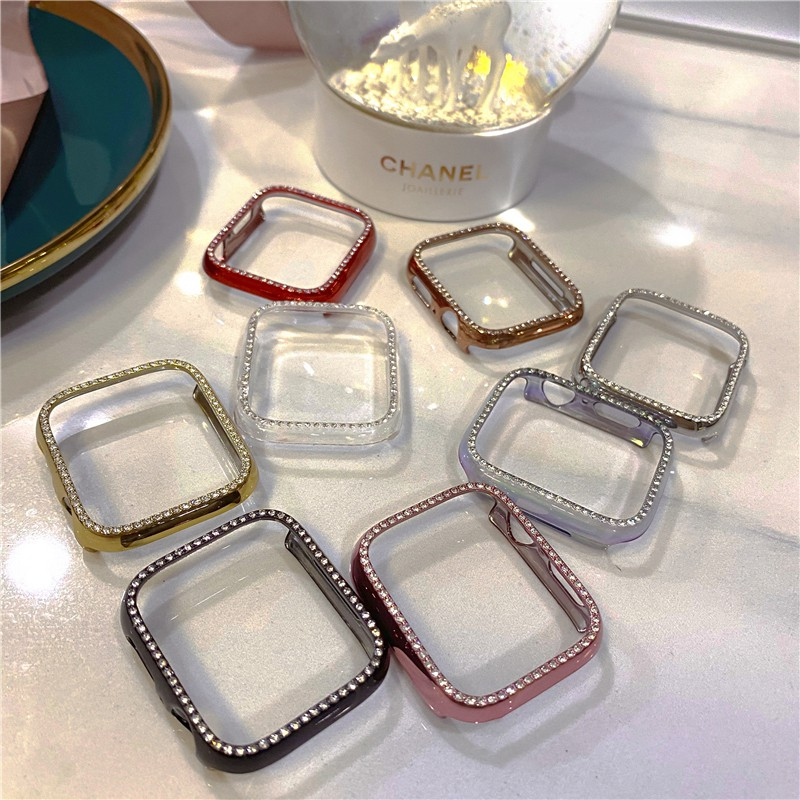 For Apple Watch Series 6 5 4 3 2 Diamond PC Protective Case Rhinestone Watch Case 38mm 40mm 42mm 44mm