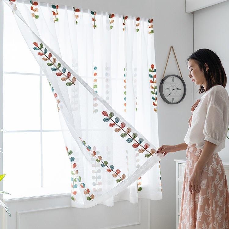 ญี่ปุ่นซื้อผ้าม่านสำเร็จรูปฟรีเจาะติดตั้ง Velcro ติดหน้าต่างเส้นด้ายอ่าวหน้าต่างระเบียงหน้าต่างขนาดเล็กให้เช่าสั้น