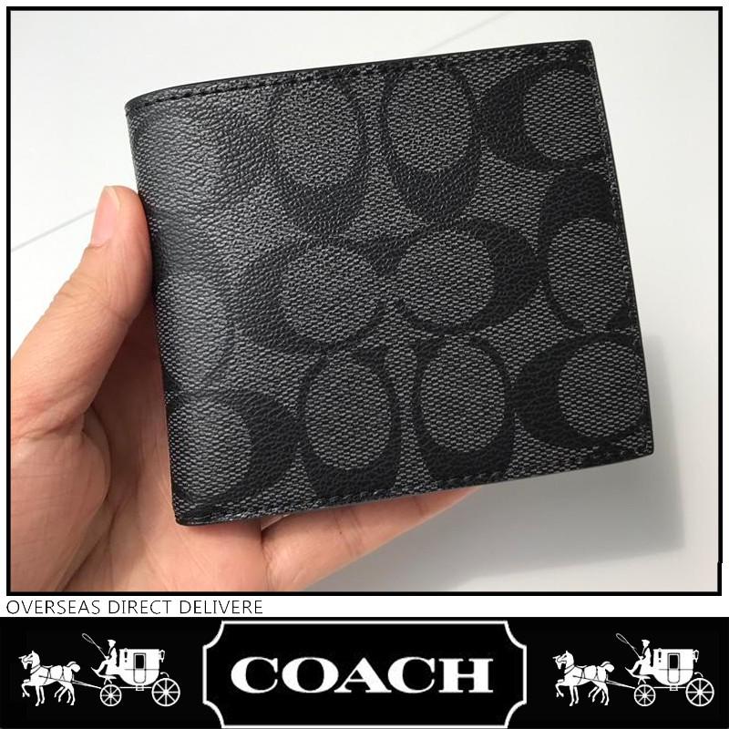 Coach แท้ F75006 กระเป๋าสตางค์ กระเป๋าสตางค์ผู้ชาย กระเป๋าสตางค์ใบสั้น กระเป๋าสตางค์หนัง