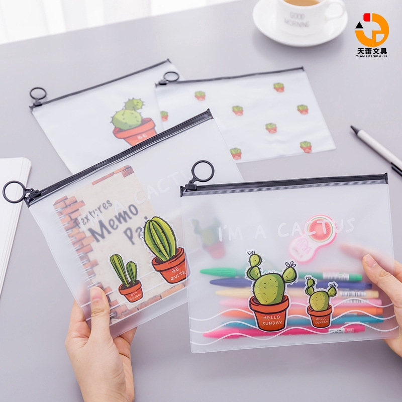 """Transparent frosted cactus ring storage bag Korea stationery cactus series stationery bag frosted texture small fresh and large capacity student stationery pencil case simple zipper bag """"Tianlei Stationery"""""""