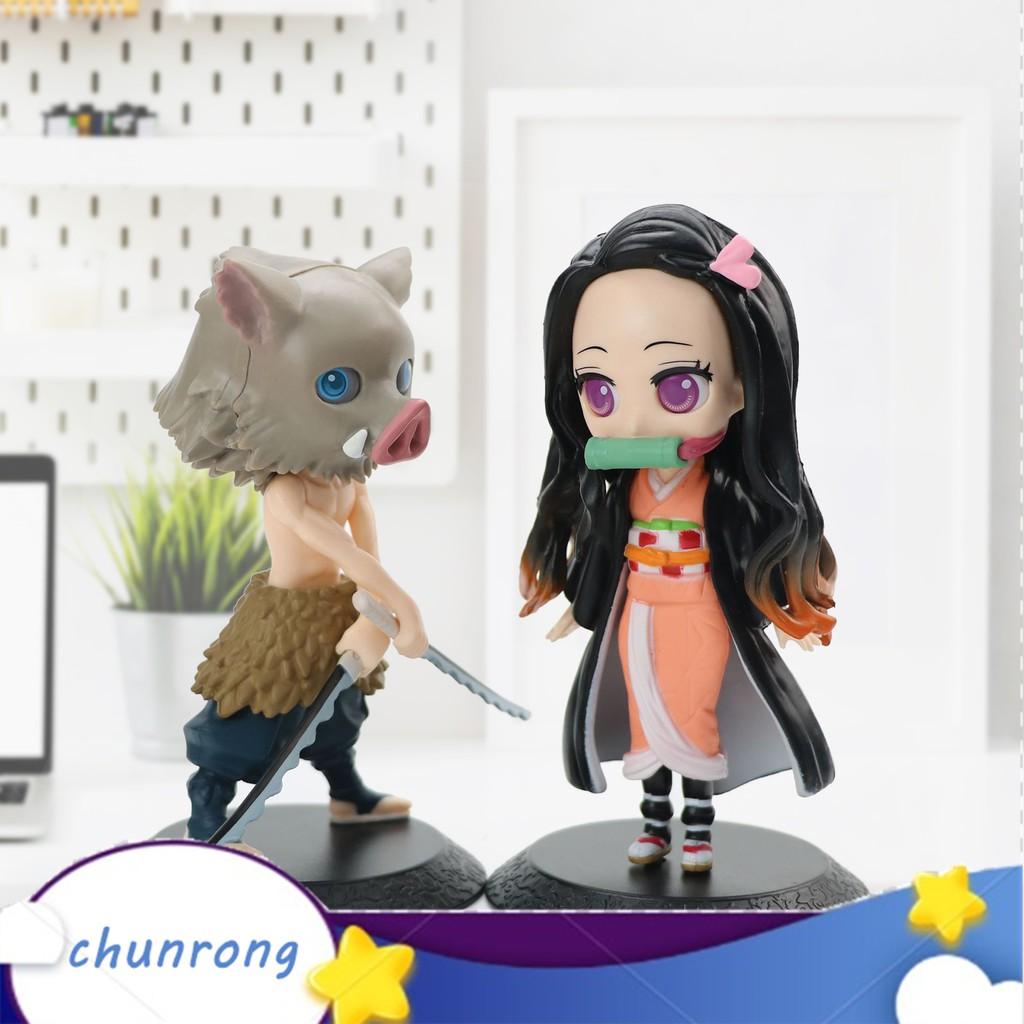 Cr_Anime Demon Slayer Cartoon Action Figure Model Toy Desktop DIY Cake Decoration