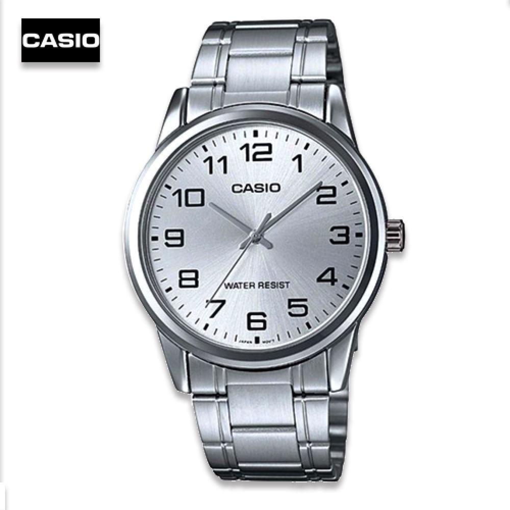 จัดส่งฟรีVelashop นาฬิกาข้อมือผู้ชาย Casio สายสแตนเลส รุ่น MTP-V001D-7BUDF หน้าปัดขาว, MTP-V001D-7B, MTP-V001D