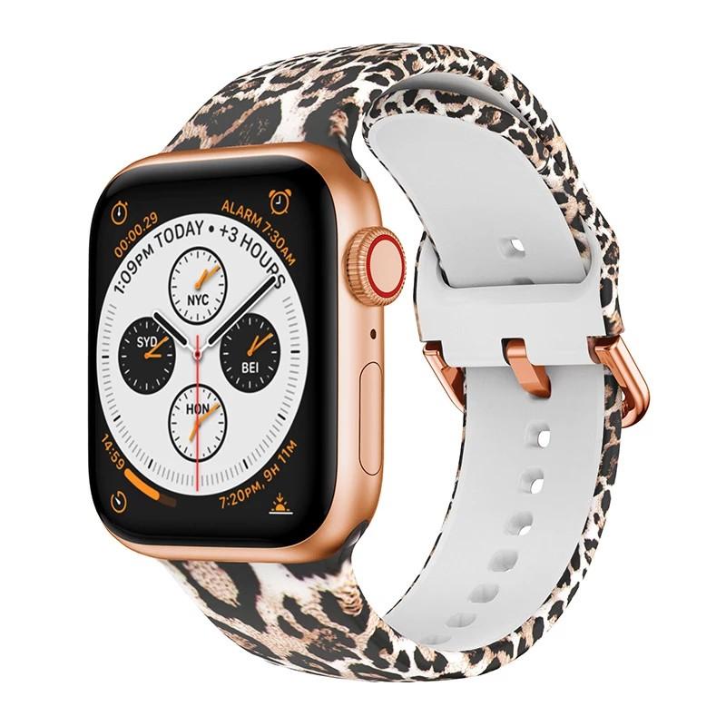 สายนาฬิกาข้อมือซิลิโคนพิมพ์ลายสําหรับ Apple Watch Band 44มม. 40มม. สําหรับ Apple Watch Se 5 4 Series 6