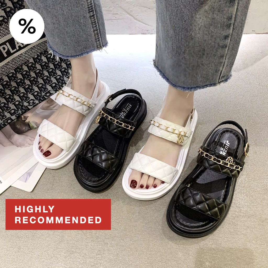 Hot!✨รองเท้ารัดส้น✨ CHANUM 2 สีคลาสสิคขาวดำ อะไหล่ทอง มีสไตล์สุด ใส่ง่าย รองเท้าผู้หญิง รองเท้าคัชชู