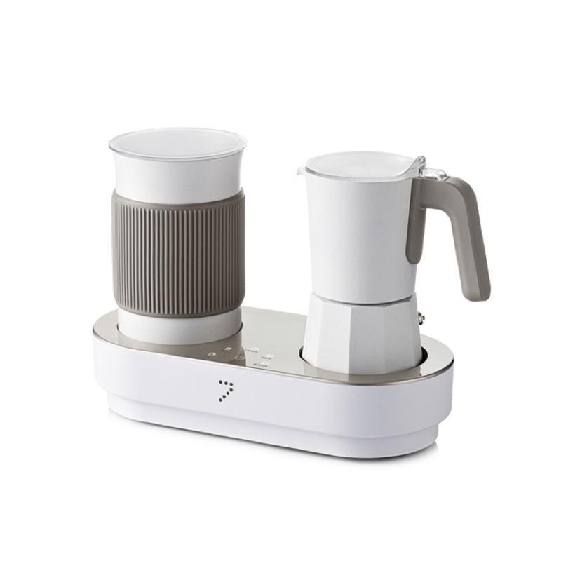 เจ็ดพลังอัตโนมัติ 7 เครื่องชงกาแฟแฟนซีเครื่องตีฟองนมในครัวเรือนเครื่องทำฟองนมแบบ all-in-one Moka pot เครื่องทำฟองนมไฟฟ้