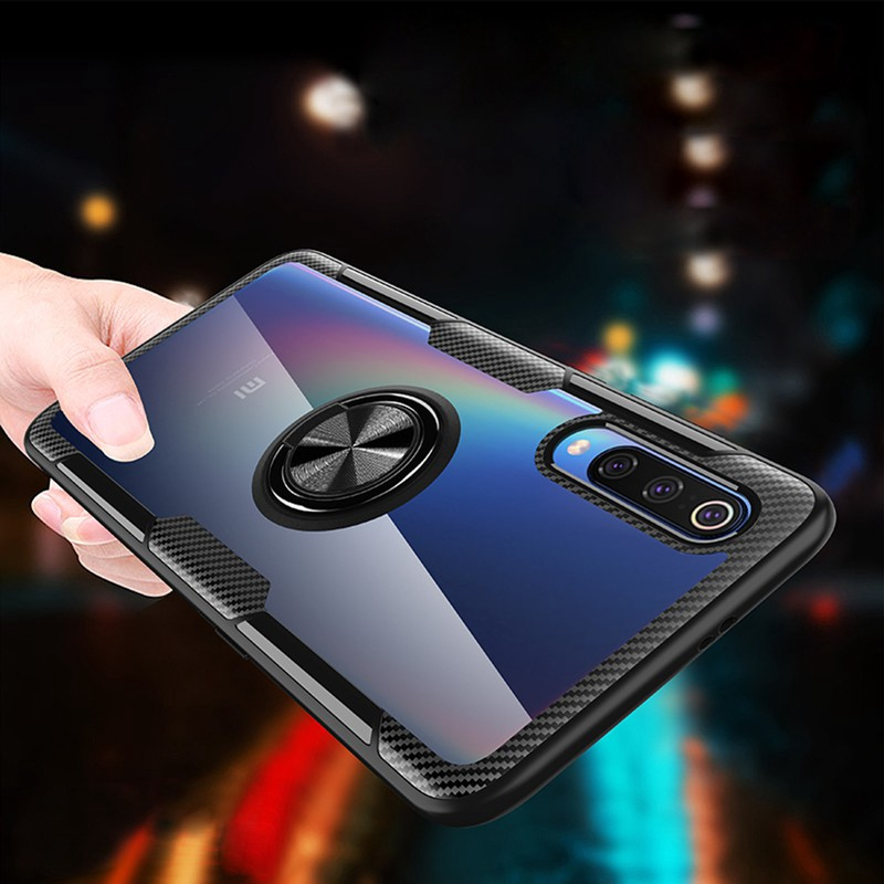 Image # 2 of Review Xiaomi Mi 9 Case Mi9 SE Case Shockproof Armor Tough Transparent Magnetic Ring Stand Hard Cover