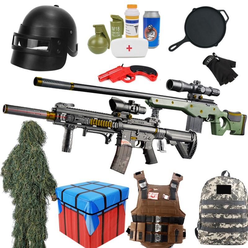 【ขาย】【ของเล่น】◐ของเล่นเด็กไก่ m416 เพียบพร้อมด้วยปืนฉีดน้ำสไนเปอร์ 98k อุปกรณ์ครบชุดจริง awm boy