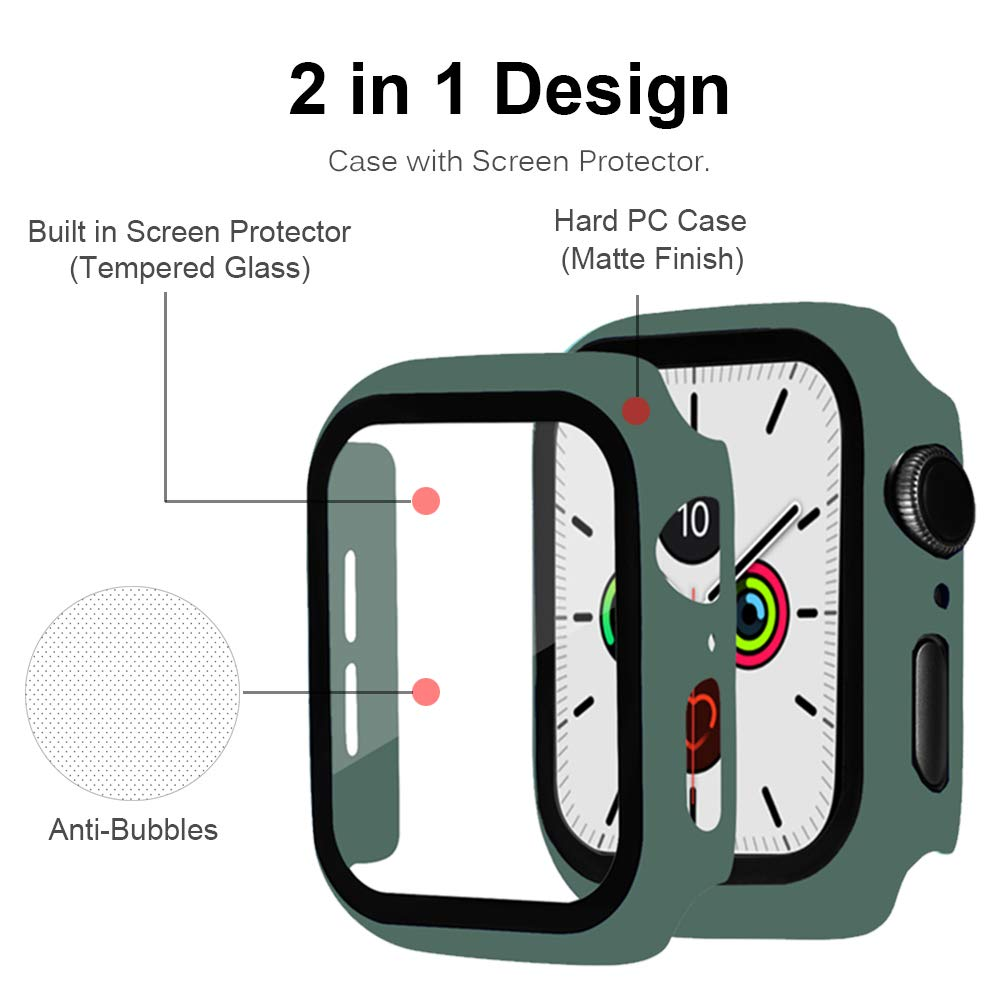 Glass+case For Apple Watch series 5 4 44mm 40mm Tempered bumper Screen Protector+cover apple watch Accessories iWatch 3