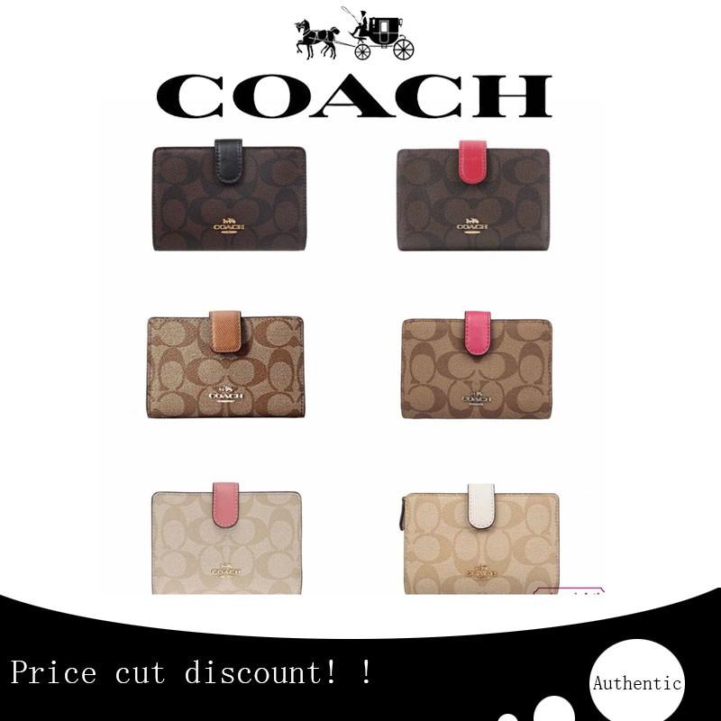 กระเป๋าแท้(Spot) กระเป๋าสตางค์ใบสั้นผู้หญิง Coach 23553 ของแท้