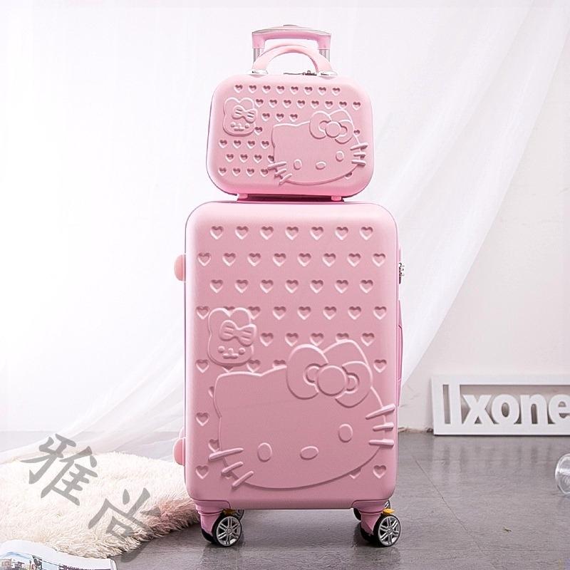 กระเป๋าเดินทางมีล้อลากลายคิตตี้ขนาด 14 นิ้ว