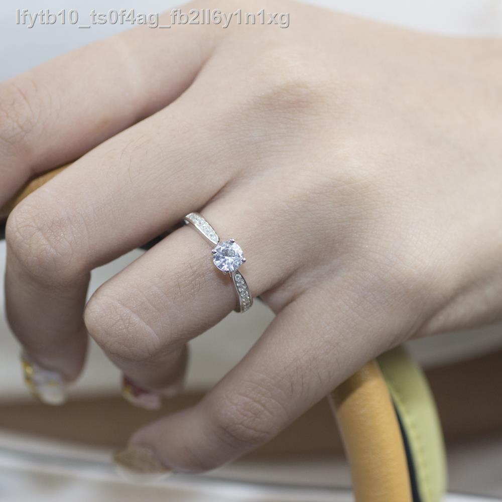 🔥มีของพร้อมส่ง🔥ลดราคา🔥♝Beauty Jewelry ผู้หญิงแหวนเพชร Classic เงินแท้ 925 ประดับเพชรสวิส CZ รุ่น RS2209-RR ทองคำขาว