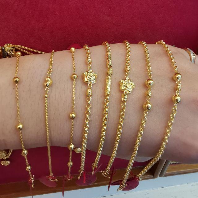   สร้อยมือทอง 96.5%  น้ำหนัก ครึ่ง สลึง ยาว 15.5-17.5cm ราคา 4,300บาท