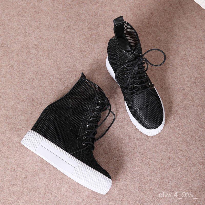 รองเท้าคัชชูส้นเตารีด 2020ลิ่มซ่อนใหม่10cmรองเท้าผู้หญิงหนังป่าตาข่ายสบายรองเท้าเดียวลิ่มหญิงสูงที่จะช่วยให้รองเท้าสีขาว