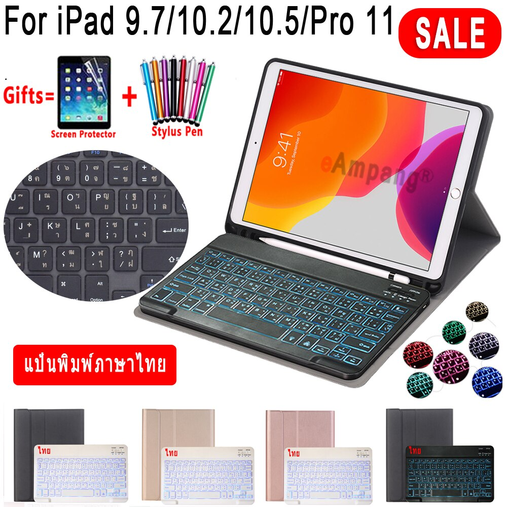 Backlit Thai Keyboard Case สำหรับ iPad Mini 2019 5 4 9.7 2017 2018 5th 6th Air 1 2 3 2019 3rd Pro 10.5 11 2018 2020 10.2 7th 8th Gen