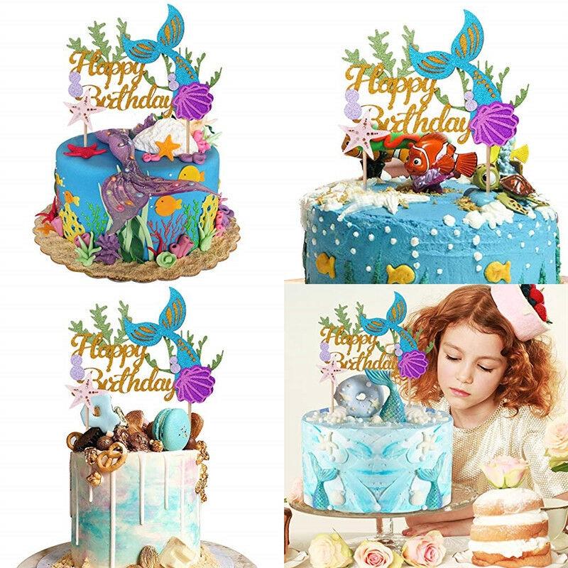 Outstanding Starfish Mermaid Happy Birthday Cake Toppers Cupcake Baby Shower Personalised Birthday Cards Akebfashionlily Jamesorg