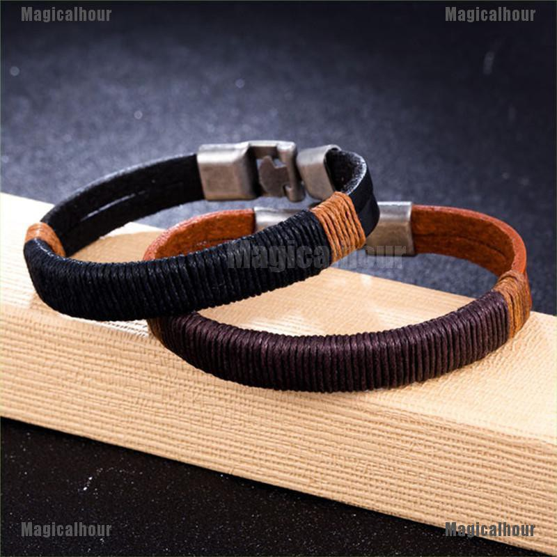 Braided Surfer Bracelet Adjustable Size Leather Bracelet for Men ...