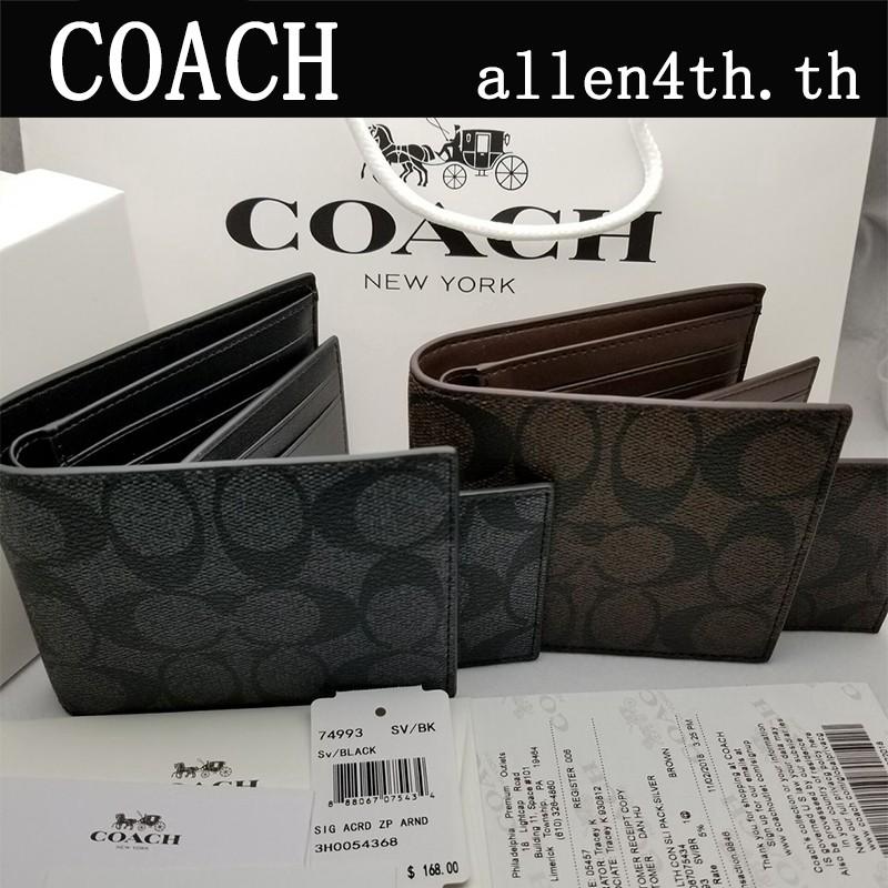 Coach กระเป๋าสตางค์ผู้ชาย F74993 กระเป๋าสตางค์ใบสั้น / กระเป๋าสตางค์หนัง / กระเป๋าสตางค์ บัตร / กระเป๋าสตางค์แบรนด์เนม
