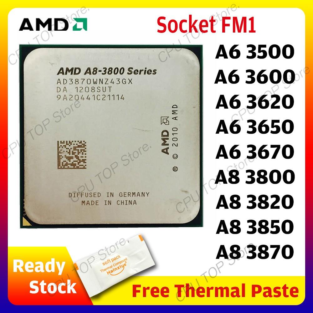 Amd A 8 - Series A 8 3800 3820 3850 3870 3870 K A 6 - Series A 6 3500 3650 3670 3670 K Quad - Core Cpu Processor ซ็อกเก็ตวิทยุ Fm 1