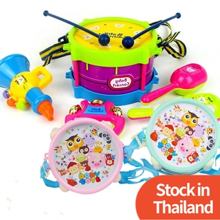 【Local Stock】ชุดกลองของเล่น เสริมทักษะดนตรี สําหรับเด็กเล็ก Baby Cartoon Rattle Drum Toy Kit Kids Musical Instrument Jazz Drums Toys Infant Early Learning Music Rattles Drumsticks Trumpet  with Hand Bell Newborn Shaking Bells Band Set Babytoys Kid Girls