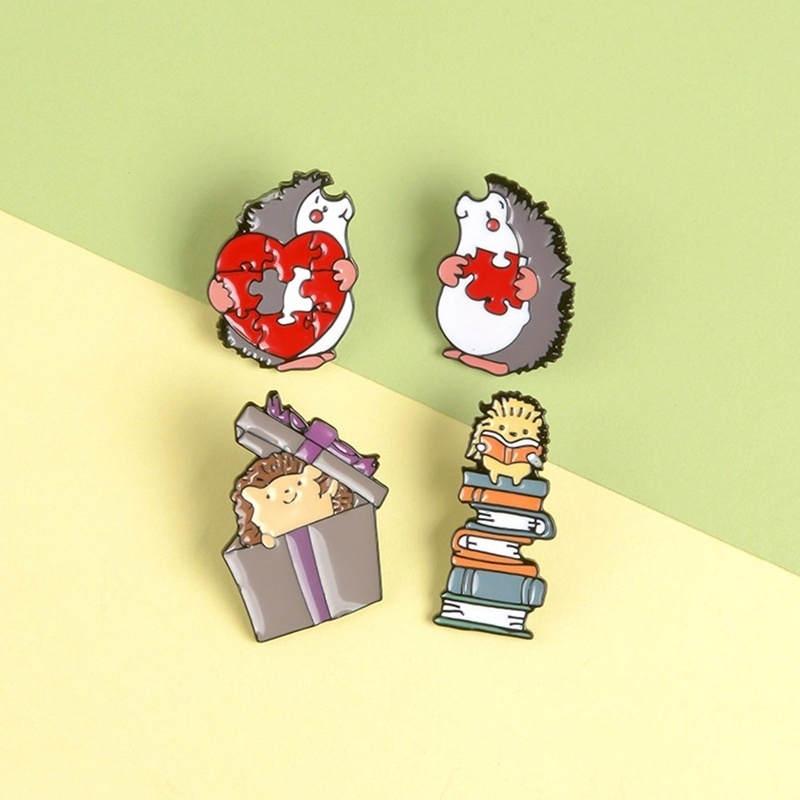 Hedgehog Lovers Enamel Pin Books Gift Love Puzzles Brooch Bag Clothes Lapel Pin Badge