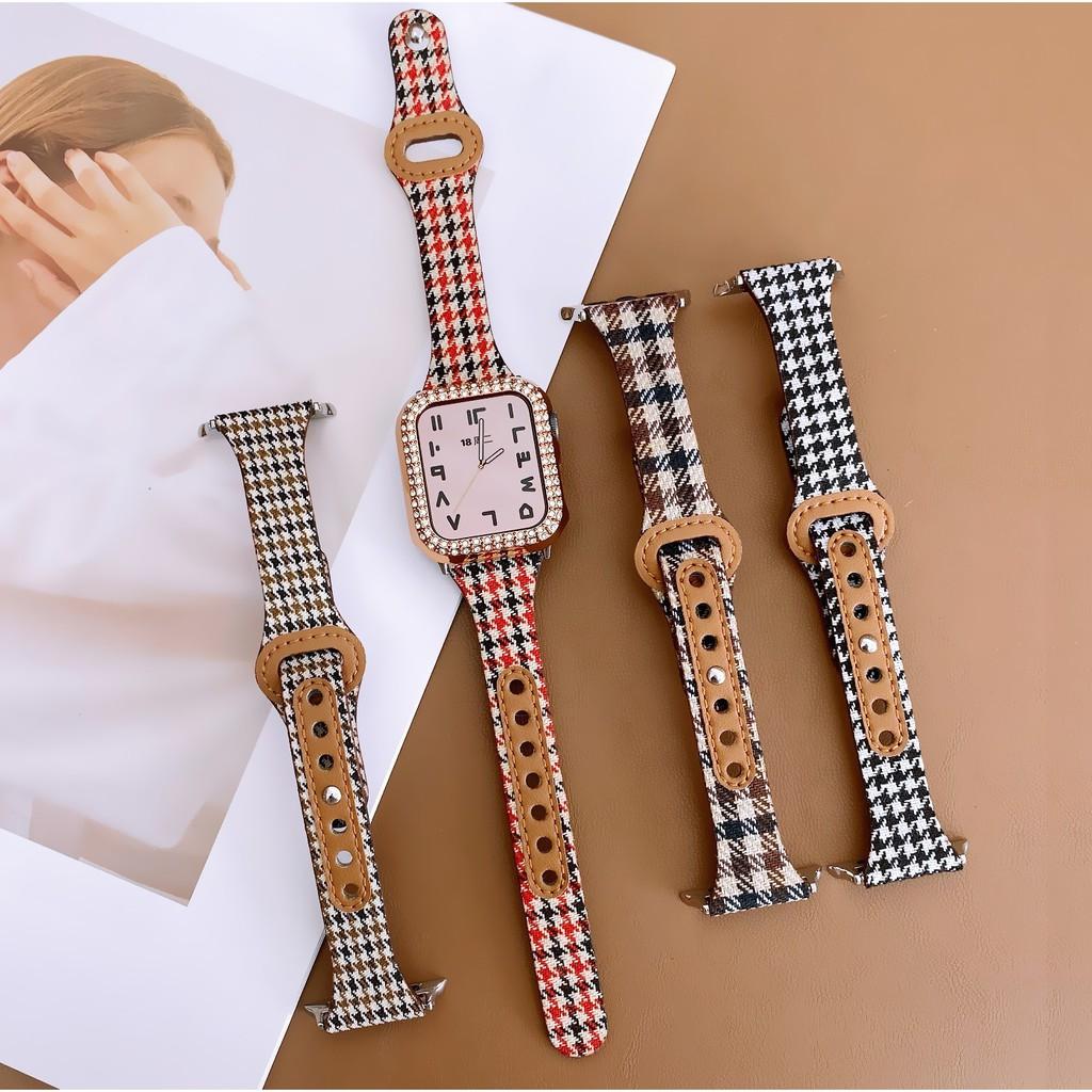 สาย Apple Watch Strap คลาสสิค สไตล์ iwatch Series 6 5 4 3 2 1 Size 38mm 40mm 42mm 44mm Canvas Leather Strap สายนาฬิกา Apple Watch Wrist Replacement Band
