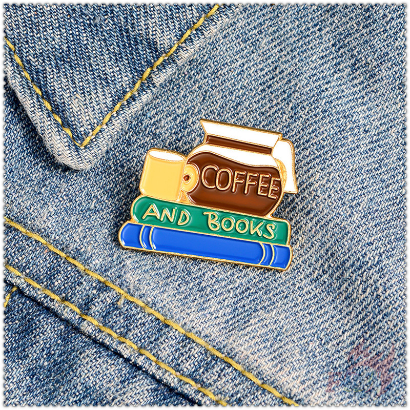 ★ Coffee And Books - Reading Time Brooches ★ 1Pc Fashion Doodle Enamel Pins Backpack Button Badge Brooch